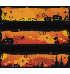 three grunge Halloween banners vector image