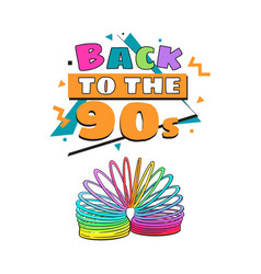 back to 90s poster template with rainbow colored vector image vector image