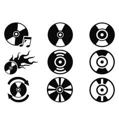 black cd icons set vector image