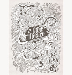 cartoon hand-drawn doodles latin american vector image vector image