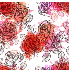 Flower Seamless Hand Drawn Pattern vector image vector image