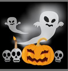 flying ghost happy halloween vector image vector image