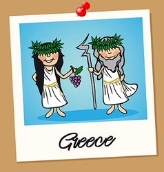 Greece travel polaroid people vector image vector image
