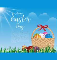 happy easter day design basket of easter eggs on vector image vector image
