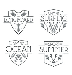 Surfing badges and icons vector image vector image