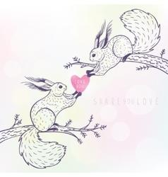 two cute squirrels vector image vector image