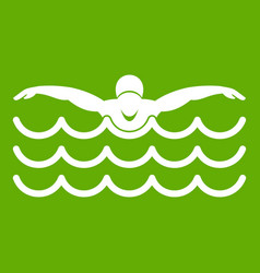 Butterfly swimmer icon green vector