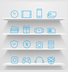 different icons on shelves e-commerce concept vector image vector image