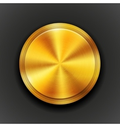 gold textured metal button vector image vector image