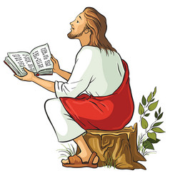 Jesus reading the bible vector