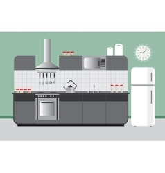 Kitchen Elevation with Cabinets Fridge Hood vector image vector image