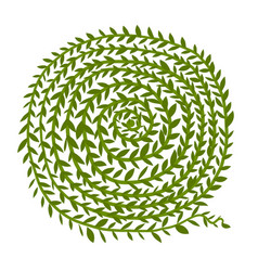 leaf spiral ornament hand drawn sketch for your vector image vector image