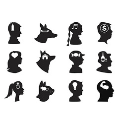 men women children and pets thoughts in head vector image