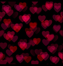 Red heart shapes isolated on black background vector image vector image