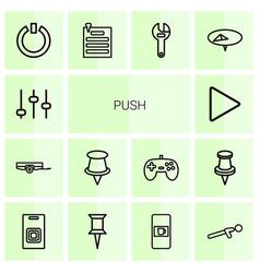 14 push icons vector