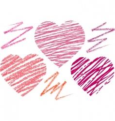 abstract set hearts chalk drawing vector image