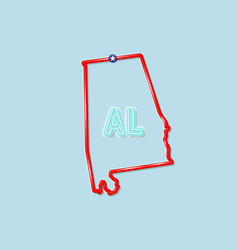 Alabama us state bold outline map vector