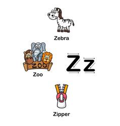 alphabet letter z zebra zoo zipper vector image