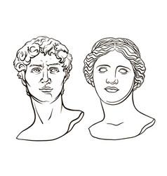 Antique sculpture head venus de milo david vector