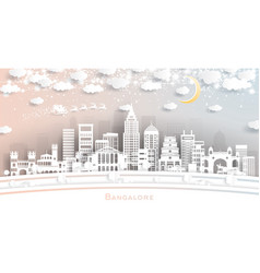bangalore india city skyline in paper cut style vector image