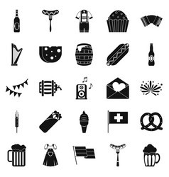 Beer hangout icons set simple style vector