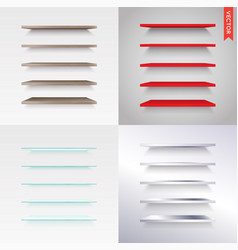 Big set of glass wood plastic metal shelves in vector
