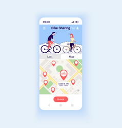 Bike sharing app smartphone interface template vector