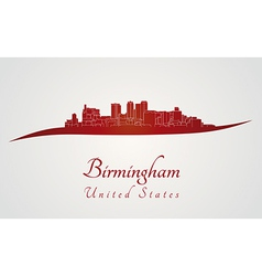 Birmingham AL skyline in red vector image
