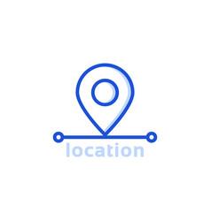 Blue thin line location pin icon vector