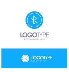 Bluetooth ui user interface blue solid logo with vector