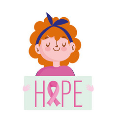 breast cancer awareness month girl with hope vector image