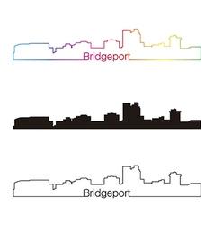 Bridgeport skyline linear style with rainbow vector image
