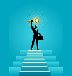 businessman holding a golden key on top of stairs vector image