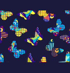 butterfly memphis seamless pattern geometric vector image