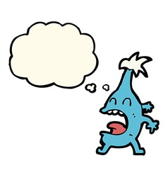 Cartoon funny creature with thought bubble vector