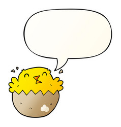 Cartoon hatching chick and speech bubble in vector
