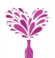 champagne with heart splash vector image