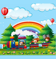 Children riding on train in park vector