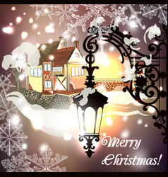 christmas greeting card with lights snowflakes vector image