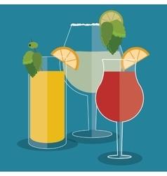 Cocktail lemon orange leaf glass summer alcohol vector