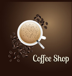 coffee shop white coffee cup brown background vect vector image