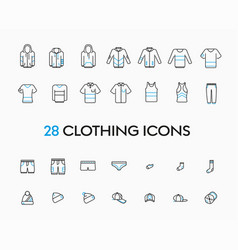 collection and linear lothes icons vector image