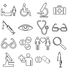 Collection flat icons with long shadow Medicine vector image