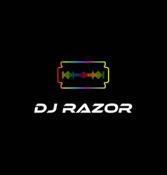 colorful razor sound wave party dj disk jockey vector image
