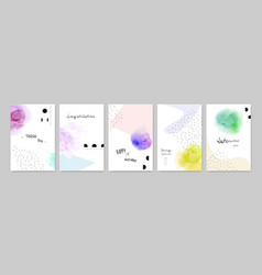 colorful watercolor on cute card set vector image