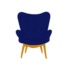 Comfortable blue armchair on wooden legs vector