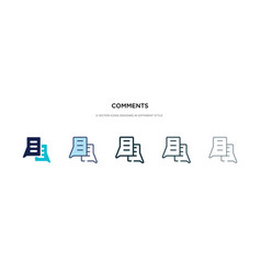 Comments icon in different style two colored and vector