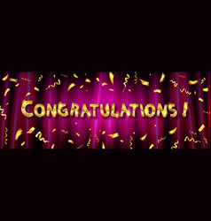 congratulations to gold lettering vector image