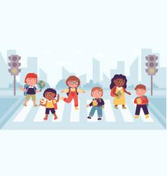 Crosswalk children elementary school pupils vector