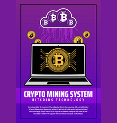 crypto mining system poster with digital web money vector image